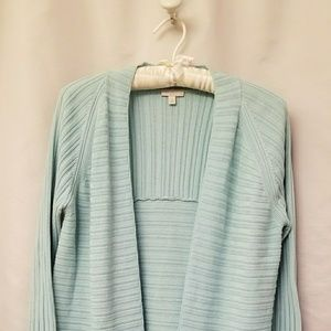 Talbots Size Medium blue open front cardigan
